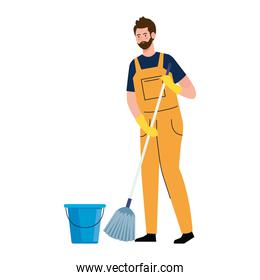 man worker of cleaning service with mop, on white background