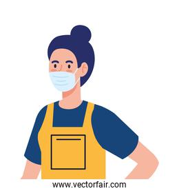 woman worker of cleaning service wearing medical mask, on white background