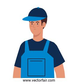 man worker of cleaning service, on white background