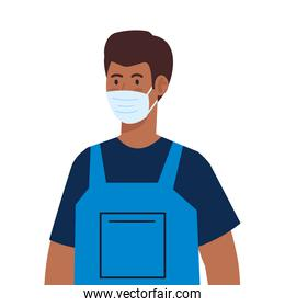 man afro worker of cleaning service wearing medical mask, on white background