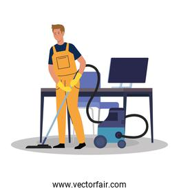 man worker of cleaning service with vacuum cleaner in the office, on white background