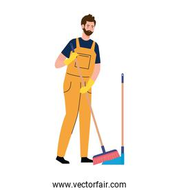 man worker of cleaning service, with picker housekeeping and broom, on white background