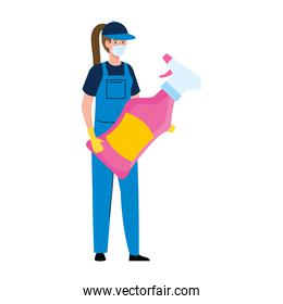 woman worker of cleaning service wearing medical mask, with cleaning spray, on white background