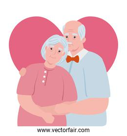 elderly couple smiling, old woman and old man with heart background