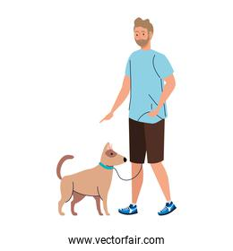 young man on a walk with a dog on white background