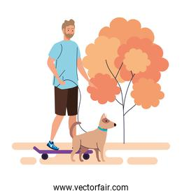 young man on a walk with a dog outdoor, on white background