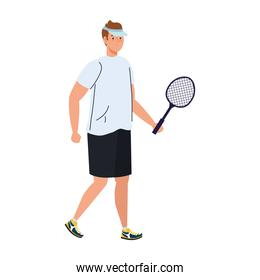 tennis player with racket on white background