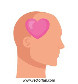 silhouette of head human profile with heart, on white background