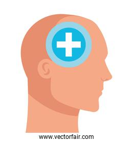 silhouette of head human profile with cross symbol, mind positive, on white background