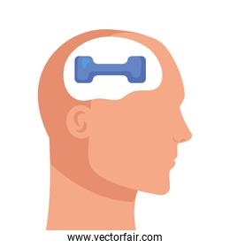 head human profile with dumbbell, on white background