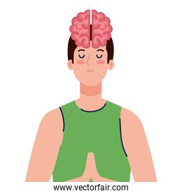 meditating man with brain icon, on white background