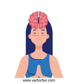 meditating woman with brain icon, on white background