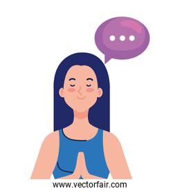meditating woman with speech bubble on white background