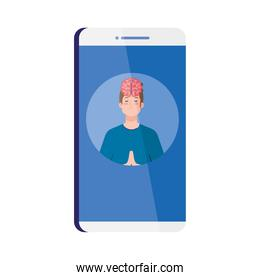 meditating man with brain icon over white
