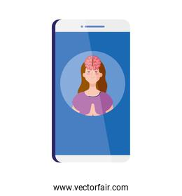 mental health assistance online in smartphone, meditating woman with brain icon, on white background