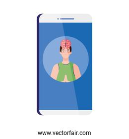 mental health assistance online in smartphone, meditating man with brain icon, on white background