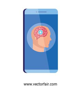 mental health assistance online in smartphone, human profile with brain and cross symbol, mind positive on white background