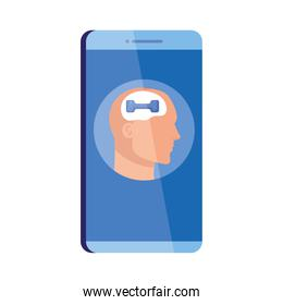 mental health assistance online in smartphone, head human profile with dumbbell, on white background