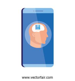mental health assistance online in smartphone, human profile with book, on white background