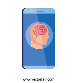 mental health assistance online in smartphone, silhouette of human profile with brain over white