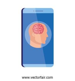 mental health assistance online in smartphone, silhouette of human profile with brain, on white background