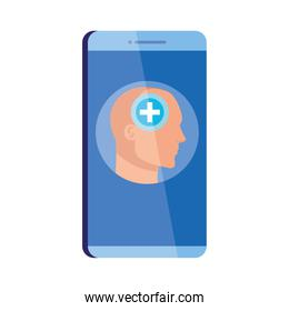 mental health assistance online in smartphone, human profile with cross symbol, mind positive, on white background
