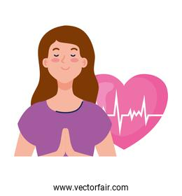 meditating woman with heart on background