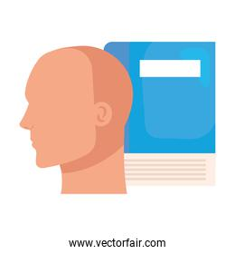 silhouette of head human profile, on white background
