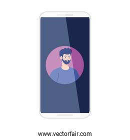 smartphone with picture man in screen, on white background