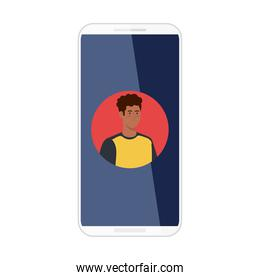 smartphone with picture man afro in screen, on white background