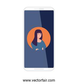 smartphone with picture woman in screen, on white background