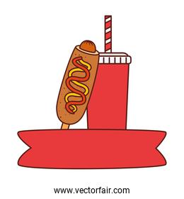 fast food corn dog with drink on white background