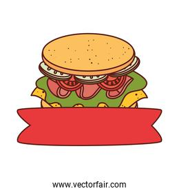delicious sandwich with ribbon, on white background