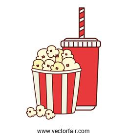 popcorn with drink isolated icon