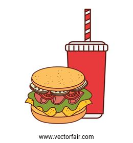 delicious sandwich with drink on white background
