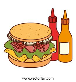 sandwich with bottled sauce on white background