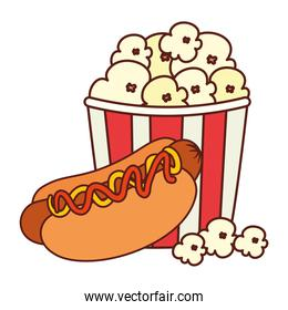 fast food delicious hot dog with popcorn, on white background