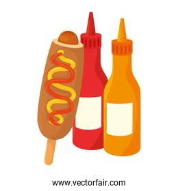fast food corn dog with bottled sauce on white background