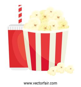 popcorn with drink on white background