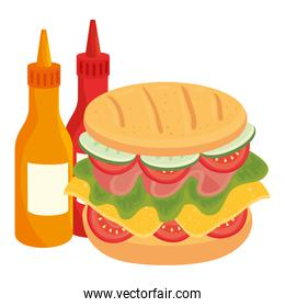 delicious sandwich with bottled sauce on white background