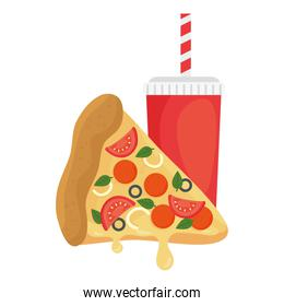 slice of pizza with drink, on white background