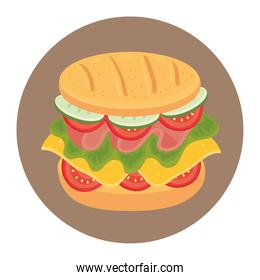 delicious sandwich in frame circular, on white background