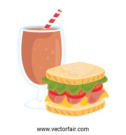fast food, delicious cup of milkshake with sandwich, on white background