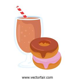 fast food, delicious cup of milkshake with donuts, on white background