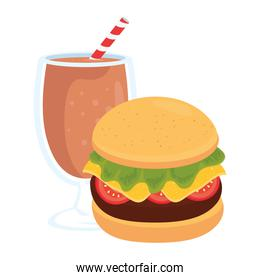 fast food, delicious cup of milkshake with burger, on white background