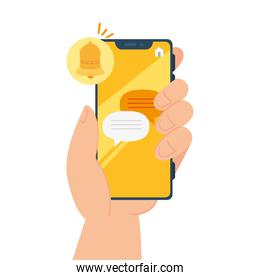 online chat messages with alert notification in smartphone, chat digital communication online