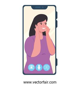 smartphone video call on the screen with woman smiling, social media concept