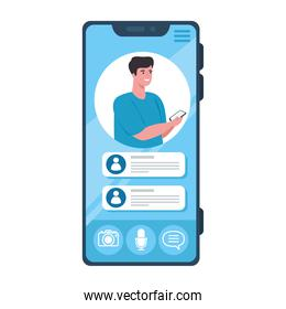online chat messages, man on screen of smartphone, chat digital communication online