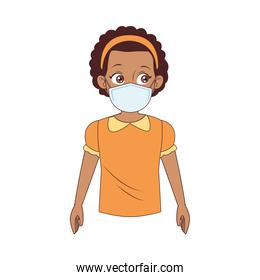 little afro girl wearing medical mask character
