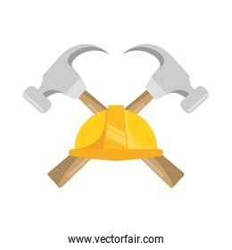 hammers construction tools crossed and helmet